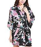 Femmes Kimono Robes Courtes Pour De demoiselle D¡¯honneur Peacock Et Fleurs Fe Soie Stain Pyjamas Noir