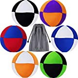 6 Pieces Hacky Ball Sack Footbag Balls Juggling Balls Sand Filled 8 Panel Footbag with Storage Bag for Beginners and Skillful Teens Adults, Assorted Colors