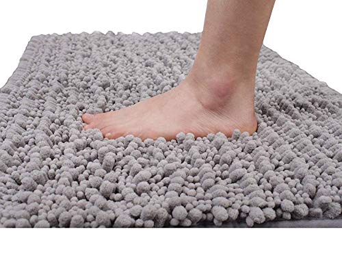 Yimobra Original Luxury Chenille Bath Rug Mat, 31.5 x 19.8 Inches, Soft Shaggy Bathroom Rugs, Large Size, Super Absorbent and Thick, Non-Slip, Machine Washable, Bath Mats for Bathroom, Gray