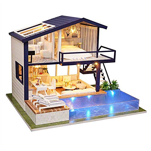 DIY Miniatur Puppenhaus Kit, Holz Miniatur Zeit Wohnung manuelle kreative Handwerk BAU Puppenhaus Kit für Jungen Mädchen Freunde Geschenk/Home Decor