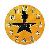 FETEAM Reloj de Pared Hamilton George Washington Relojes de Pared Funciona con Pilas Silencioso Decoración Pared para Cocina, Salon, Oficina, Dormitorio 25cm