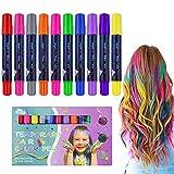 Tizas para el pelo, 10 Colores Tiza de Pelo Temporal Peine de tinte para el cabello Tizas de Color Lavables Tinte para Cabello para niñas, cumpleaños, cosplay, fiesta de Halloween, regalo (Chalk)