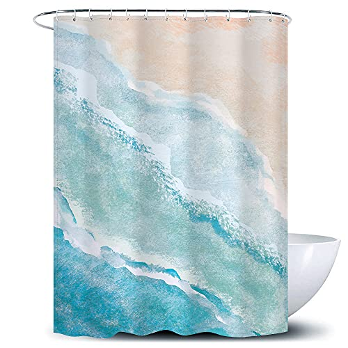 D&M Watercolor Blue Shower Curtain Sea Waves Ocean Beach Fabric Bath Curtain Nature Scenery for Bathroom Bathtub Home Decor Abstract Stall Waterproof 60'x72' with 12 Plastic Shower Hook