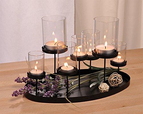 Haushalt International Kerzenhalter Kerzenständer Leuchter für Sieben Teelichte aus Metall schwarz