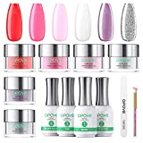 Dip Powder Nail Kit Starter, opove Dipping Acrylic Powder and Liquid Set Starter Kit Glitter Manicure French Nail Art Set Essential Tools - 6 Colors