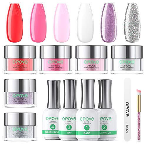 Dip Powder Nail Kit, opove Dipping Acrylic Powder and Liquid Set Starter Kit Glitter Manicure French Nail Art Set Essential Tools - 6 Colors