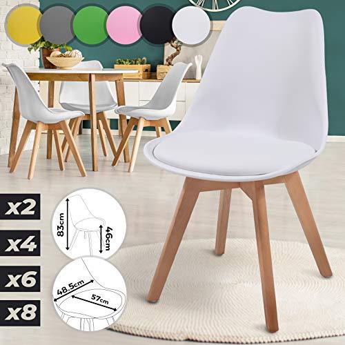 MIADOMODO Esszimmerstühle 2er 4er 6er 8er Set - im Skandinavischen Stil, gepolstert mit Sitzkissen, aus Kunststoff & Massivholz, Farbwahl - Vintage, Retro, Küchenstuhl, Stühle (4er, Weiß)