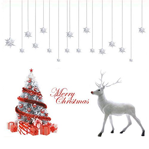 DegGod 2Pcs Christmas Wall Stickers Murals, DIY Removable Merry Christmas White Xmas Tree Deer Wall Decals for Christmas Living Room Shop Window Decorations (White Deer)