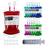 MEDOU 12Pack Halloween Party Cups,Blood Bag for Drinks Container with Syringe Set of 12 IV Bags 11.5 Fl Oz Pefect for Halloween Party Halloween Zombie Party Favors
