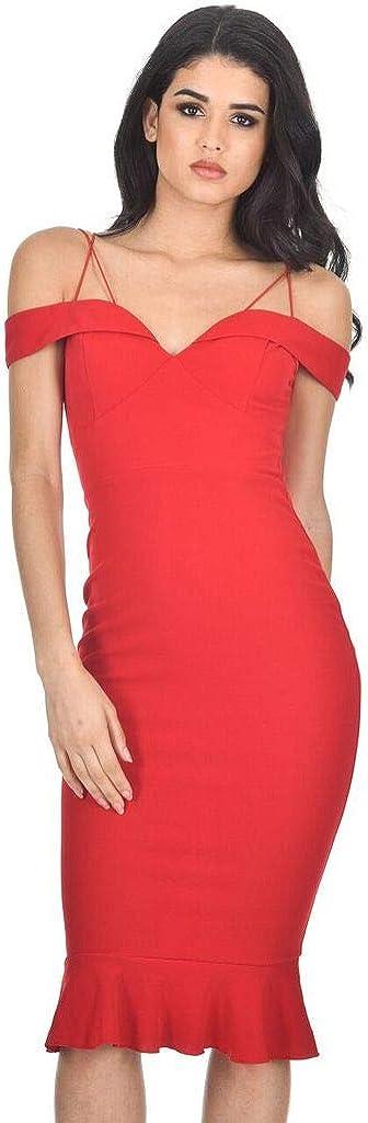 AX Paris Women's Off The Shoulder Strappy Fishtail Dress