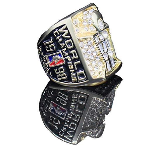 WANZIJING Anillos de Hombre, 1998 Año NBA Bulls Championship Anillo de réplica Personalizado Anillos de Diamantes de Acero Inoxidable para Hombres Objetos de Recuerdo Tamaño 11