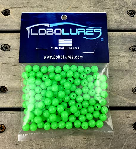 Lobo Lures 100 Pack 8mm Lumo Glow in The Dark Round Lure Rigging Beads...