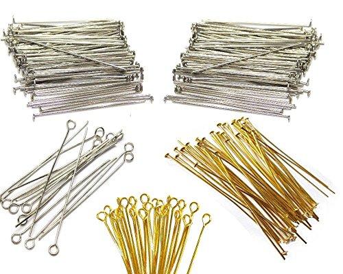 600 Kettelstifte Nietstifte 50mm x 0,7mm Versilbert Kopfstifte und mit öse Perlenstifte Gold Silber Prismenstifte