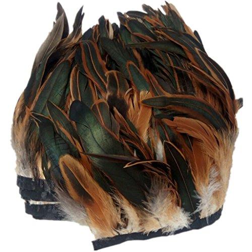 ERGEOB® Echte Hahnenfedern auf 200cm Stoffstreifen in Braun - 13 Farbvarianten - Ideal für Fasching, Karneval, Halloween, Basteln, Bekleidung, Kostüme.