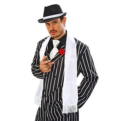 NET TOYS 20er Jahre Satin Schal Mafia Schultertuch mit Fransen Gangster Tuch Edler Satinschal Charleston Fransenschal Charleston Kostüm Zubehör