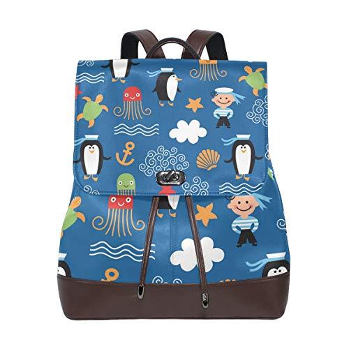 FANTAZIO Rucksack Cartoon Seemann Anker Tiere Schultasche Leder Daypack