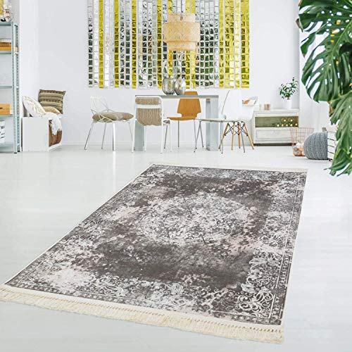Carpet City bedrukt tapijt, vlakpolig, polyester, wasbaar, klassiek, vintage ornamenten, meisjes, beige crème
