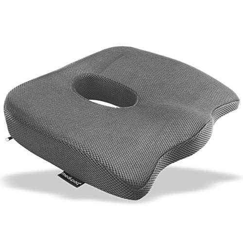 Medipaq - Luxury Orthopaedic Coccyx Seat Cushion - Designed to Relieve Sciatica, Tailbone and Back Pain for Any Seat with Anti Slip Bottom - (Grey)