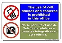 バイリンガル-携帯電話とカメラの使用は禁止されています。このオフィスビニールPVCサイン。