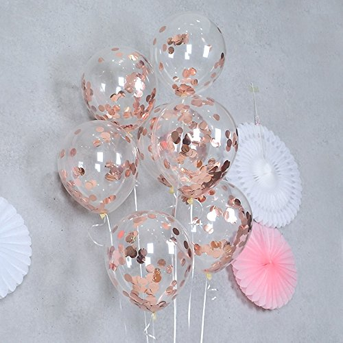 FONBALLOON PARTY 12'' Rose Gold Confetti Balloons for Party Decoration,Engagement,Weddings Birthdays Showers Party (Pack of 12)