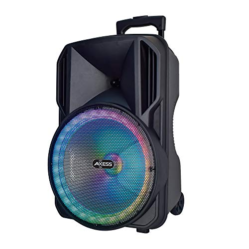 "Portable Bluetooth Speaker, LED Lights, 12"" Woofer, 1.5"" Tweeter, Trolley & Wheels, USB SD Card AUX FM Inputs, 3,600 mAh Rechargeable Battery, Axess PABT6030 Loud Indoor Outdoor Wireless Loud Speaker"