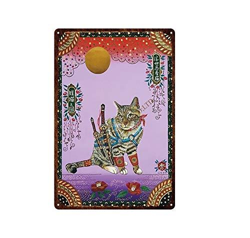 DIY Pintar por números Samurai japonés gato tatuaje gato mascota signo placa arte Vintage pintura decorativa pintar por numeros caballos Con pincel y pintura acrílica Kits The50X70cm(Sin marco
