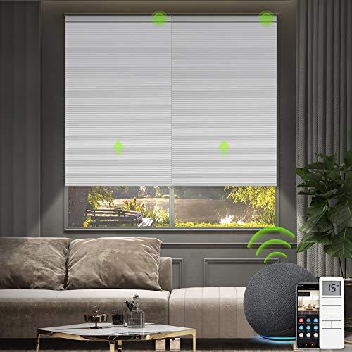Yoolax Motorized Cellular Shade Compatible with Alexa, Blackout Smart Blinds Honeycomb Shade...