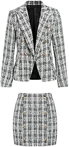 Casual Plaid Tweed Tweedelige Pak Vrouwen Elegante Pakken Vrouwelijke Blazer Sets Chic Office Dames Blazer Rok Past