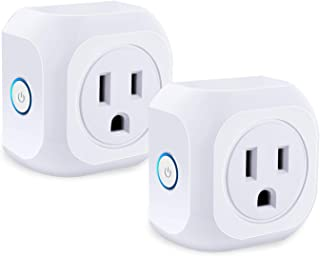 Wifi Smart Plug, 2 Pack Wifi Enabled Mini Smart Outlet Compatible with Amazon Alexa and Google Assistant Timer Function Remote Control Your Home Appliances, No Hub Required, FCC CE Certificated