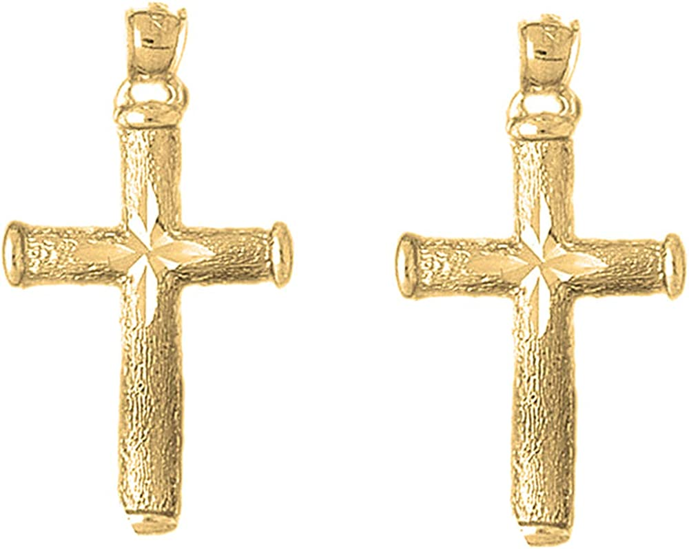 Jewels Topics on TV Obsession Latin Cross Earrings Hollow Gold Yellow 14K Discount mail order L