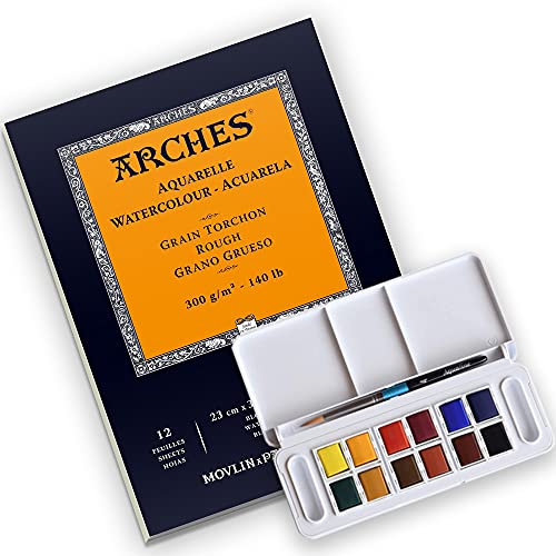Arches Watercolor Paper Pad, 140 pound, Rough, 9'x12' with Daler-Rowney Aquafine 12 Half Pan Travel Watercolor Set, Assorted Colors