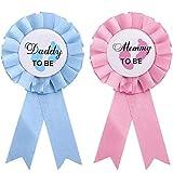 2 Piezas de Papi y Mami para ser Placa de Hojalata Pin Género Revelar Botones New Daddy Mom Regalos para Baby Shower Fiesta de Celebración, Rosa y Azul