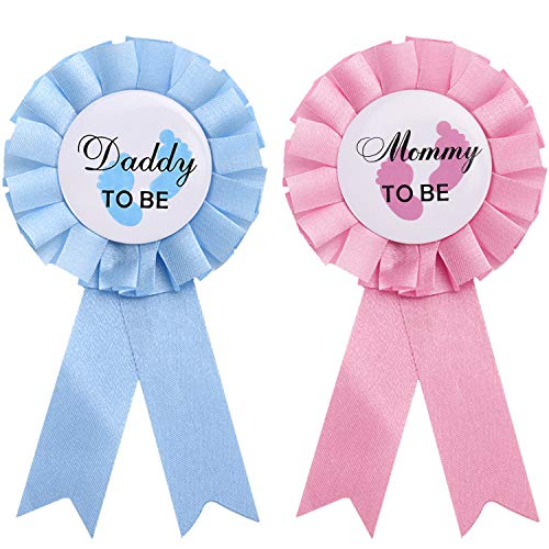 WILLBOND 2 Stücke Daddy and Mommy to Be Weißblech Abzeichen Nadel Geschlecht Knopf Nadel Neue Papa Mama Geschenke für Baby Dusche Party Feier, Rosa und Blau