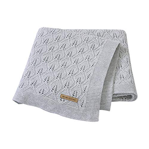 mimixiong 100% Cotton Baby Blanket Knit Cellular Toddler Blankets for Newbron Baby Grey 40x30 Inch