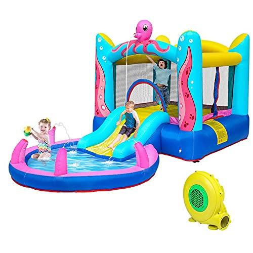 YQZ Casa de Rebote Castillo Inflable Piscina, tobogán de Agua Casa de Juegos Interior/Exterior para niños Soplador de Aire Incluido sin Pelotas