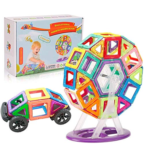 WXXW Blocs Magnetiques,Bloc De Construction Magnétique, Toddler Toys Bâtiments Magnétiques-3d DIY Jeux Construction Aimanté Jouet Construction Educatif Et Créatif Cadeau pour Enfants 68 PCS
