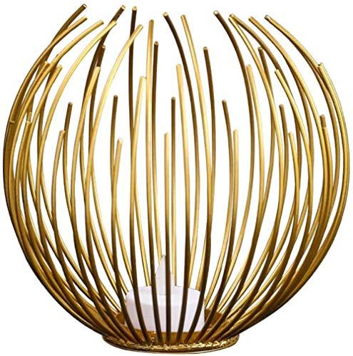 Jfs Linternas Decorativas Linterna Colgante de Estilo Vintage de 25 cm de Alto, candelabro de Metal para Interiores y Exteriores, Eventos, Fiestas y Bodas, Color Negro con Pincel Dorado