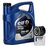 Duo Servicio Cambio de Aceite - Elf Evolution SXR 5W-40 5 lts + Filtro aceite Original 8200257642