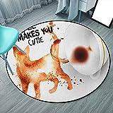 Alfombra para clases de café, redonda, 6 pies, siena quemada, color negro, blanco, frase inspiradora humorística con silueta de gato de cafeína, alfombra de juegos para niños (redonda, 180 x 180 cm)