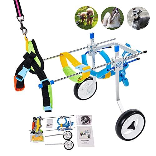リハビリ犬用車椅子 柴犬、チワワ、トイプードル、シーフード、ダックスフントなど歩行障害 補助 歩行器 老犬介護 調節可能2輪犬用車いす XS