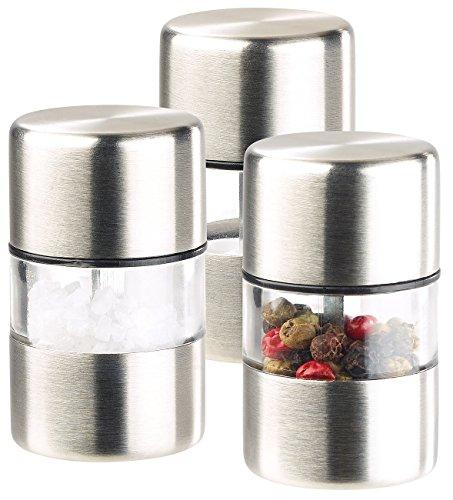 PEARL Kardamom Mühle: Mini-Salz-/Pfeffermühle, Edelstahl, Keramikmahlwerk, 3er-Set (Salzmühlen)