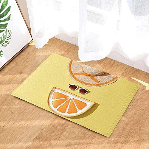 Alfombras De Baño De Frutas De Verano Para La Playa Moda Para Mujer Gafas De Sol Para El Sol Naranja En Amarillo Alfombra De Piso Antideslizante Entradas En El Interior Puerta Delantera 60x40c