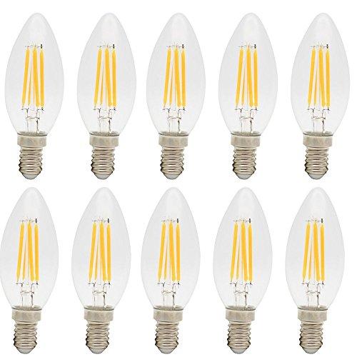 10er-Pack C35 E14 Sockel 4W Klar Warmweiß Glass LED Fadenglühbirne Glühfaden kerzenlampe Kerze 280LM, 3000K