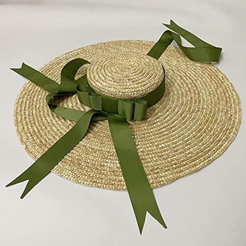 UKKD Strohhut Damen Großer Krempe Weizen Stroh Sun Hut Ribbon Schleife Strand Hut Raffia Strohhut Breitrand Hut Womens Hüte Modisch-A,Adjustable