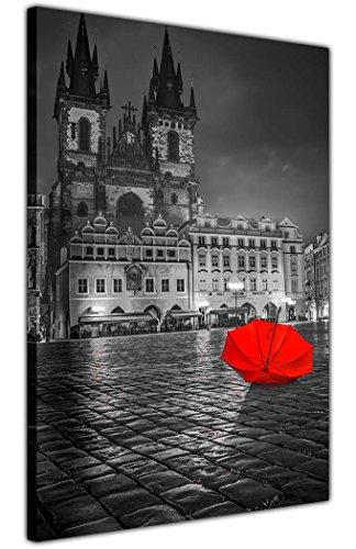 Cuadro en blanco y negro de Praga con paraguas rojo de la ciudad sobre lienzo de 18 mm de grosor con marco Giclée impresiones Tamaño: A3 – 40 cm x 30 cm
