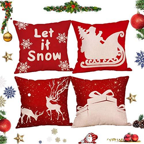 Synchain Weihnachten Kissenbezüge,Weihnachten Deko Kissenbezug,Weihnachtskissenbezug, Dekorativer Kissenbezug,Leinen Kissenbezüge,45 x 45cm