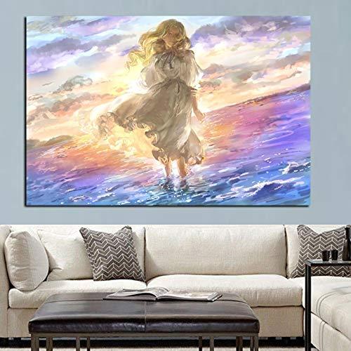 wZUN Pinte Arte de Anime psicodélico en Pintura al óleo sobre Lienzo 60x90 Sin Marco