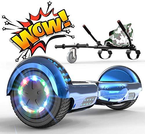 RCB Hoverboard Elettrico Scooter con Hoverkart Go-Kart Costruito in luci a LED Bluetooth Speaker Regalo per Bambini e Adulti Ruote 6.5'' Regalo di Natale
