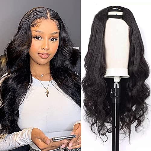 Nvnvdij U Part Wigs Body Wave Brazilian Virgin Human Hair 2''x 4'' U Shape Glueless Wigs 150% Density Natural Black Color With Straps Combs For Black Women (18 Inch, Body Wave)