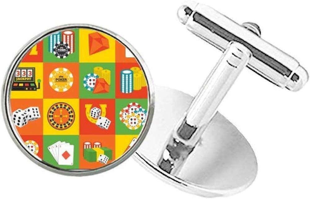 DIYthinker Square Casino Objects Illustration Round Button Cuff Clip Stud Cufflinks